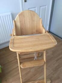 Wooden highchair.