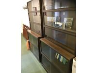 Glazed bookcase dark wood