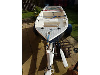 9ft fibreglass fishing boat with road trailer for sale