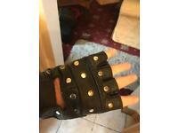 Biker leather mitts