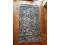 Grey and White Marl Large Fluffy Floor Rug with Deep Pile - 58.5 x 31.5 Inches