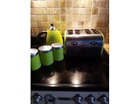 Green kettle, toaster and assessories