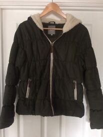 Rip Curl Womens Padded Jacket - olive green with ultra soft cream fleece in hood
