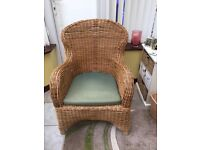HIGH BACK WICKER CHAIR WITH REMOVABLE GREEN CUSHION