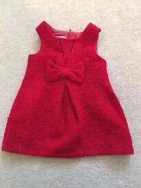 Baby girls 3-6 months Next red bow dress - worn once