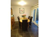 Pine Extending Table - 2m x1m in Antique Pine finish plus 6 Leather bonded chairs.