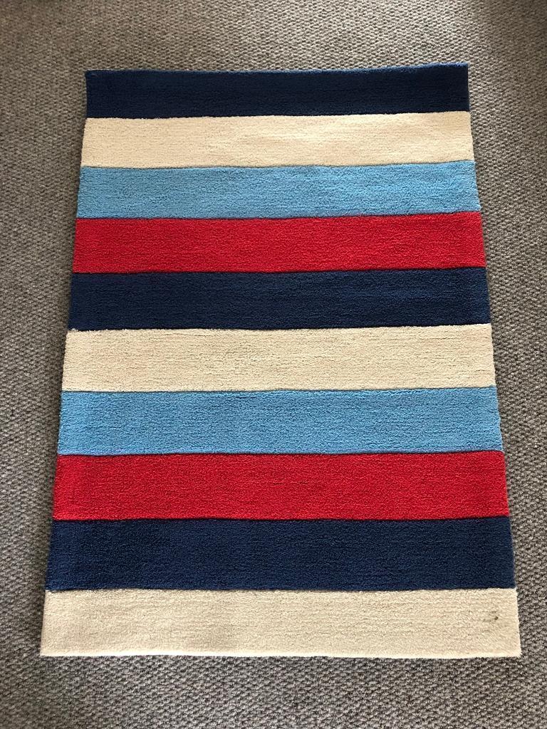 Next Red Blue Cream Stripe Rug Children S Bedroom In Holyhead Isle