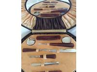 Antique manicure set with mirror Complete set .