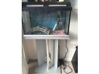 35 gallon fish tank and stand for sale including filter and heater for tropical fish use