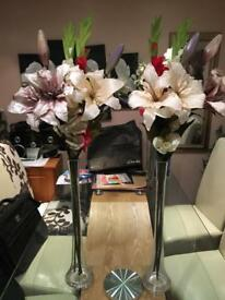 Crystal glass vase with Large flowers -MINT condition 2x pair