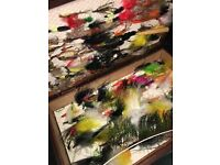 fly fishing assorted in wooden case