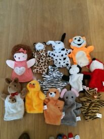 Selection of animal hand puppets and finger puppets