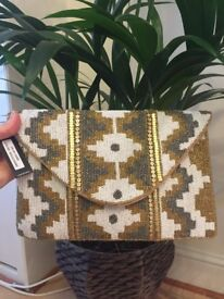 BNWT gold/white/silver beaded trendy clutch bag