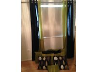 Lime Green and Black Curtains panels and matching cushions covers - Ex.Cond
