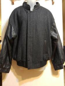 Awesome XL 48 MENS VARSITY Jacket Wool & Leather Vintage Deadstock Made in Canada Awesome Quality New Old Stock Coat