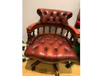 Chesterfield red leather captains chair