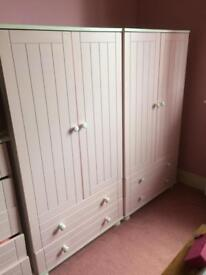 Girls Pink and white double wardrobes