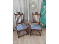 Oak Armchairs in Victorian Gothic Jacobean Style