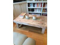 Bespoke Coffee Table white washed wood and glass