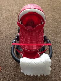 Silver Cross dolls pram with doll £15