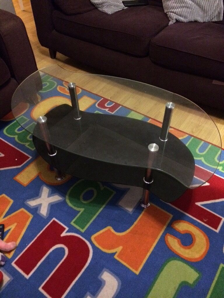 Black and clear glass coffee table for sale