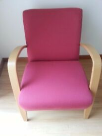 Armchair, Upholstered with Wooden arms and legs.