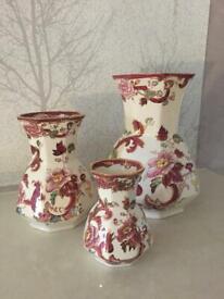 "MASON IRONSTONE - Set Of 3 ""Hydra"" Vases - Mandalay Red"