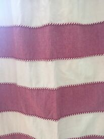 Pair of bespoke curtains. Red and cream.