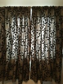 Brown Flock Fully Lined Curtains