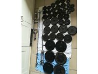162.5kg Cast Iron Weights Set inc. Barbell, Dumbbells, EZ & Hammer Bar (dumbell, bench, press, gym)