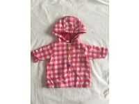 Baby newborn red checked summer raincoat with multicoloured buttons - fleece lined