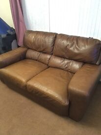 Large 2 seater and 3 seater leather sofas