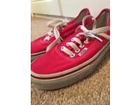 Red canvas vans size 3