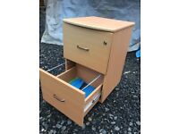 Wood two drawer filing cabinet on casters