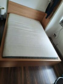 Wooden Double Bed Frame With A Mattress