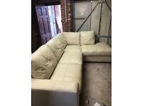 Cream leather corner couch