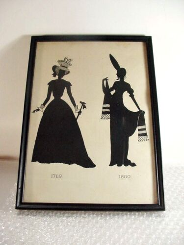 """LOT #8:  ANTIQUE FRAMED SILHOUETTE VICTORIAN LADIES PERIOD DRESS: 1789-1800 11+"""""""