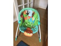 Bright Starts Peek-A-Zoo vibrating baby rocker for quick sale!