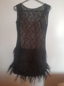 Stunning Black Lace and Feather dress Small/8-10