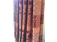 Curtains (2 pairs) and Roman blinds (2) in rich heavy fabric fully lined with pelmets