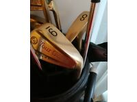 Full set of Tour Gold golf clubs with bag and trolley also golf brolley