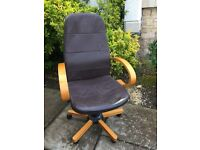 Office chair, brown leather