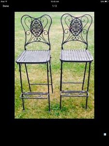 Beautiful, Unique and Heavy Folding Wrought Iron Chairs