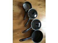Four Prestige Saucepans from 0.9l to 2.8l in good condition