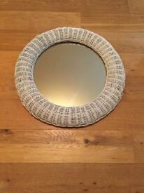 Sold - White Round wicker mirror