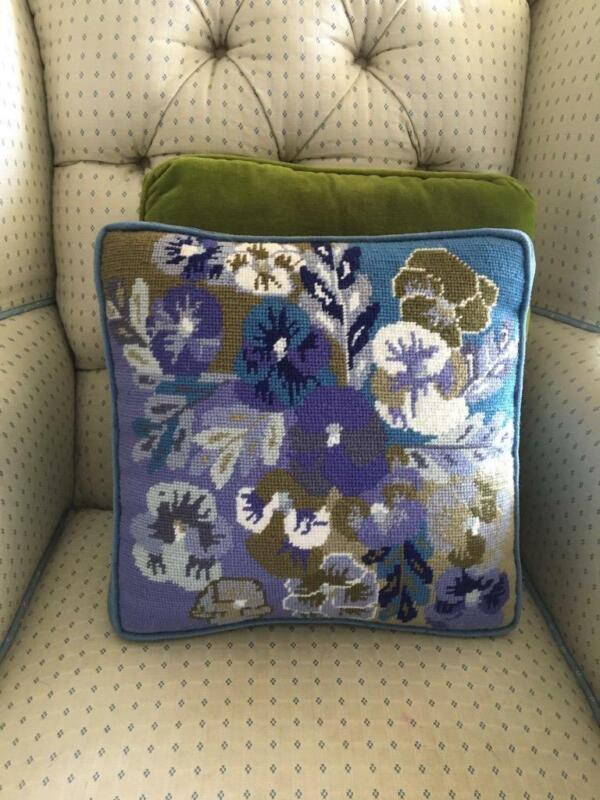 VINTAGE COMPLETED BLUE PANSY FLOWERS NEEDLEPOINT FINISHED PILLOW