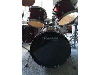 Tornado Mapex 7 Piece Drum Kit with Stool and Zildjian Ride Cymbal