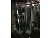 Three glass display cabinet