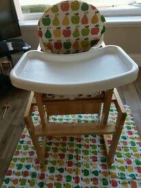 3 in 1 wooden high chair