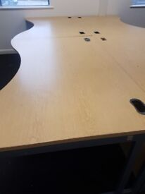 double waved office desks in Oak effect 1600mm